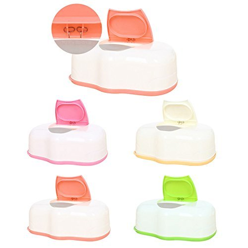 Caja de almacenamiento de toallitas húmedas de plástico, contenedor recargable, 80 hojas (naranja): Amazon.es: Bebé
