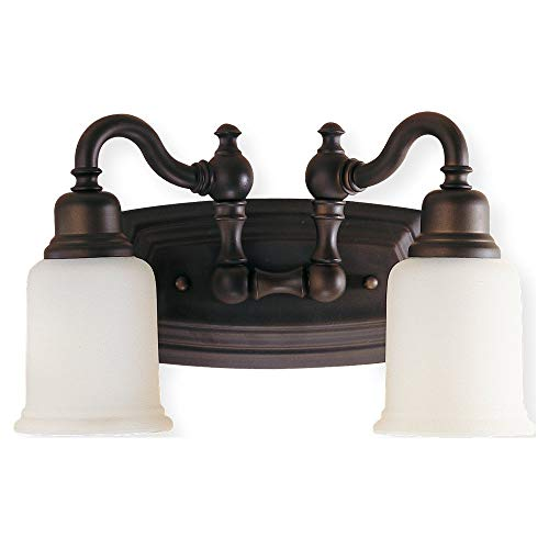 - Feiss VS8002-ORB Canterbury Glass Wall Vanity Bath Lighting, Bronze, 2-Light (14