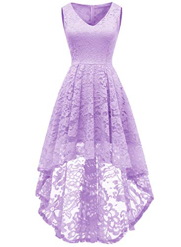 MUADRESS 6018 Women's Cocktail Dress Floral Lace V Neck High Low Sleeveless Formal Party Dress Lavender Medium