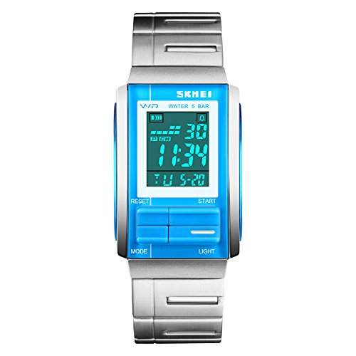 Mens Unique Stainless Steel Rectangle Digital Electronic LED Waterproof Casual Sport Dress Watch Adjustable Band, Stop Watch, Back Light, Calendar Date Day, Alarm, 164FT 50M Water Resistant - Blue