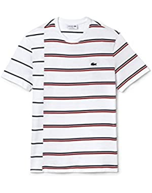 Men's Made In France Men's White Striped T-Shirt in Size 4-M White
