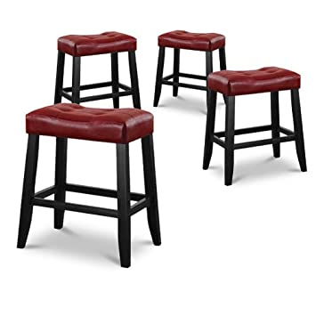Phenomenal 4 24 Red Cushion Saddle Back Kitchen Counter Bistro Bar Stools Gmtry Best Dining Table And Chair Ideas Images Gmtryco