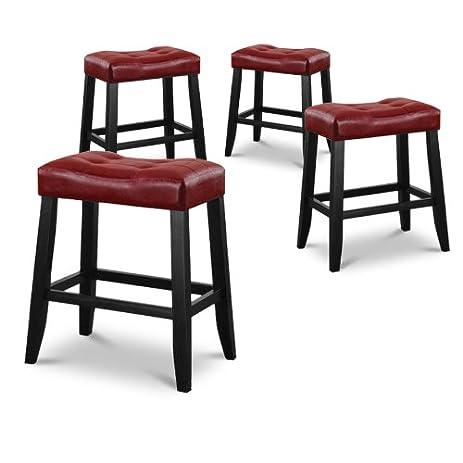 4 24u0026quot; Red Cushion Saddle Back Kitchen Counter Bistro Bar Stools  sc 1 st  Amazon.com & Amazon.com: 4 24