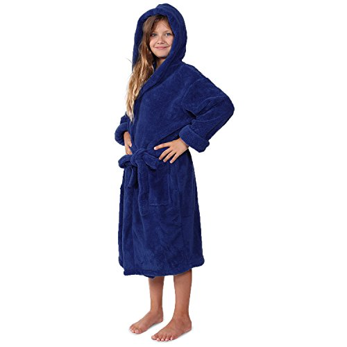 Indulge Plush Hooded Robe for Kids, Soft Fleece Bathrobe for Girls ans Boys, Made in Turkey (Large, Navy) (Boys Bathrobe Fleece)