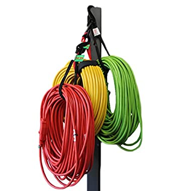 Bungee Cord Garage Organizer Storage Tool. Best Gift Ideas for Men. Sports Equipment, Bike, Hoses Hook and Hang Easily In Shop, Basement, Closet. No Rack or Shelves. For Home, Outdoors, Truck, Trunk