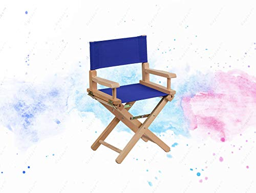(GUPLUS-Kid Size Directors Chair in Blue Child Sized Chair Foldable for storage Lightweight, Portable Design Blue Canvas Seat and Back Cover Removable Covers Arms Cross Legs Beechwood Frame Folded Size)