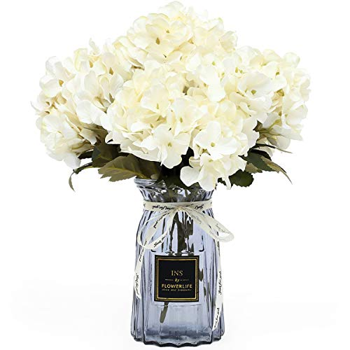 Diy Flower Vase (UltraOutlet 4 Packs White Silk Hydrangea Flowers with Vase DIY Artificial Hydrangea Flowers Bouquets Arrangement Centerpiece for Weddings, Baby Showers, Birthday Parties, Home Office)