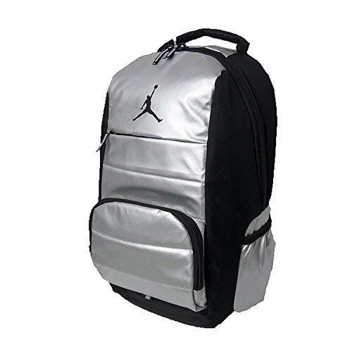 NIKE Air Jordan Jumpman Driven All World Student School Sports Book Laptop Backpack Metallic Silver Black