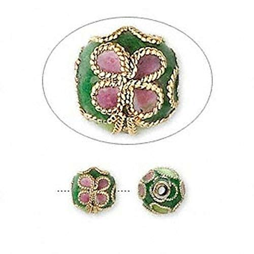 10 Gold Plated Green Cloisonne Round Flower 8Mm Beads