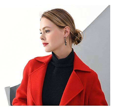 Vioy Suelta Mujer Cálida Vintage s Abrigo Chaqueta Invierno Manga rojo Bordado Otoño Larga Boucle Lana Para De E Rompevientos 77wSqra
