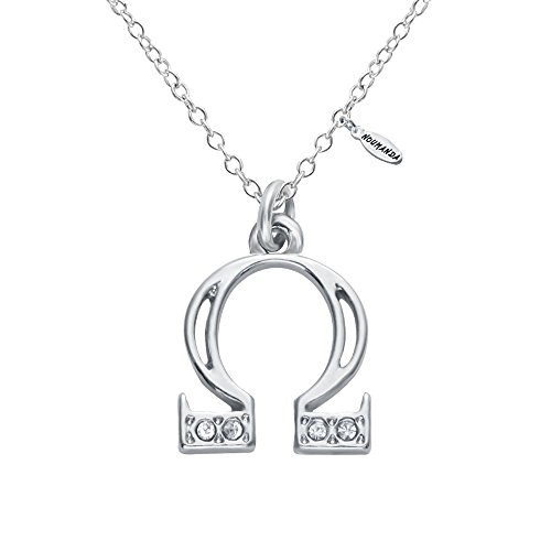 NOUMANDA Alloy 24 Alphabet Greek Letters Crystal Initial Charms Silver Necklace (omega)