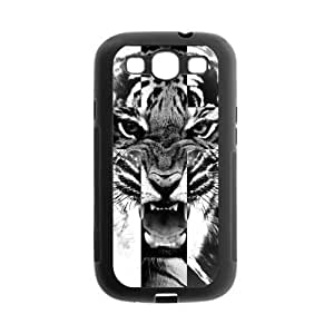 Black and White Tiger Roar Cross Protective Gel Rubber Back Fits Cover Case for SamSung Galaxy S3