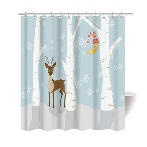 Deer Mounted Costume Halloween (Gwein Christmas Theme Cartoon Deer Happy Christmas Shower Curtain Polyester Fabric Mildew Proof Waterproof Cloth Shower Room Decor Shower Curtains)