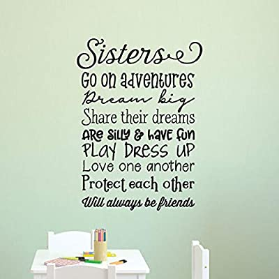 Sisters Rules Wall Sticker Quote Forever Friends Keep Secrets Cut Vinyl Transfer
