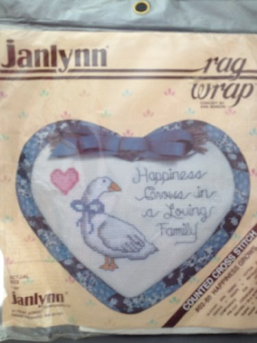 """Janlynn Counted Cross Kit ~ """"Happiness Grows in a Loving Home"""" Rag Wrap with Country Goose"""