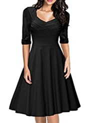 Women's Retro Hepburn Style Half Sleeve Swing Bridesmaid Dress