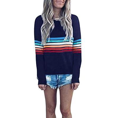 Naokenu Women Long Sleeve Striped Printed Tunic Top Casual Loose Fit Tunic Shirt