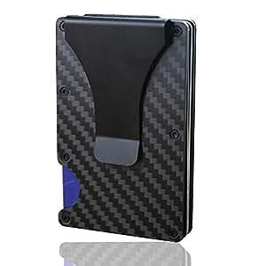 Carbon Fiber Wallet, Leegoal Slim Credit Card Holder Anti Scan Metal Money Clip With RFID/RDIT Blocking Technology, Front Pocket Wallets for Men(Black)