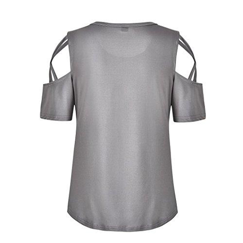 Piebo Donne Maglietta Manica Elegante Grigio Camicette Estate Corta Calda Spalla Confortevole Vest Sexy Vendita Top Cinghietti N80wOvmn