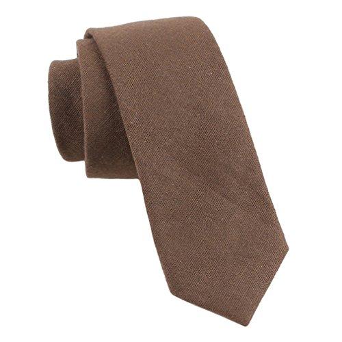 (Levao Men's Cotton Skinny Necktie Solid Color Tie Coffee258)