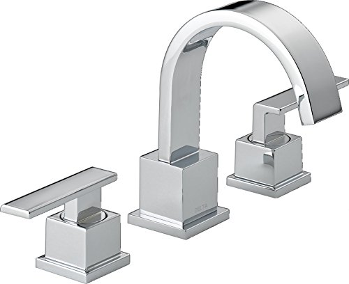 Delta 3553LF Vero 2-Handle Widespread Bathroom Faucet with Metal Drain Assembly, Chrome (Handle Widespread 2)