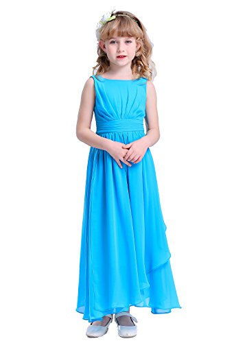 Happy Rose 7-16 Chiffon Girls Junior Bridesmaid Dress Aqua Blue - Aqua Dress Juniors