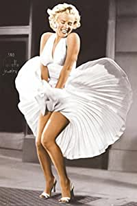 Laminated Marilyn Monroe - Seven Year Itch, White Dress, Color Poster 24 x 36in