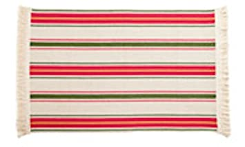 Ikea Flatwoven Area Kitchen Rug Stripes Cotton Red Green Gold Throw Mat