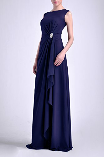 Women's Sleeveless Chiffon Long Blue Adorona Dress Navy Natrual Straps Bateau Sheath BXqBgdU