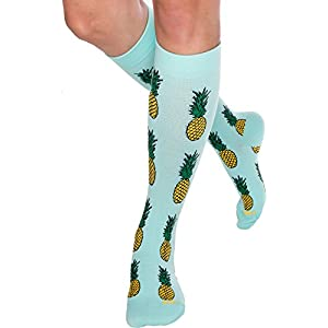 Fun Running Compression Socks - Graduated 15-25mmHG Colorful Knee High Sport Socks for Men and Women by LISH (Pineapple, S/M)