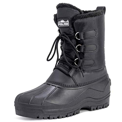POLAR Mens Muck Lace Up Short Nylon Winter Snow Rain Lace Up Casual Duck Boots - 12 - BLK45 YC0141