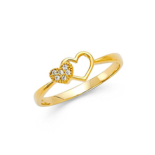 [1.9mm 14K Engagement Ring in Yellow Gold with 0.2 ct Heart Shaped Stone Size 9.5] (0.2 Ct Heart)