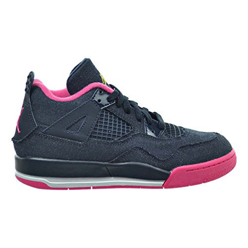Jordan 4 Retro GP Little Kid's Basketball Shoes Dark Obsidian/Metallic Gold/Vivid Pink/White 487725-408 (1.5 M US) by Jordan