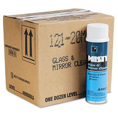 Misty A12120CT Glass & Mirror Cleaner w/Ammonia 19oz Aerosol 12/Carton