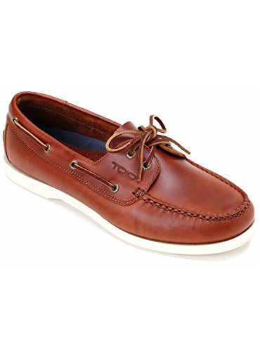 TOIO PREMIER BOAT SHOE - Handcrafted 100% leather rubber sole with anti-slip tread… Cognac