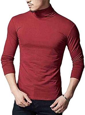 GRMO Men Basic Long Sleeve Turtleneck Cotton T-Shirts Tops