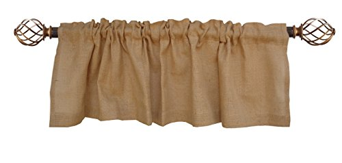 Cotton Craft – 100% Jute Burlap Natural Window Valance – Set of 2 – Size – 16-Inch-by-72-Inch – Made from Eco-Friendly 100% Natural Jute