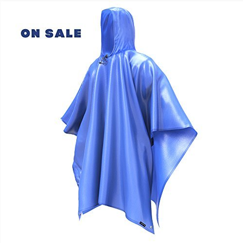 Rain Poncho Coat Jacket with Hooks-Aopetio Uniquely Design Lightweight Easy Carry Waterproof Raincoat for Camping Hiking (Blue)