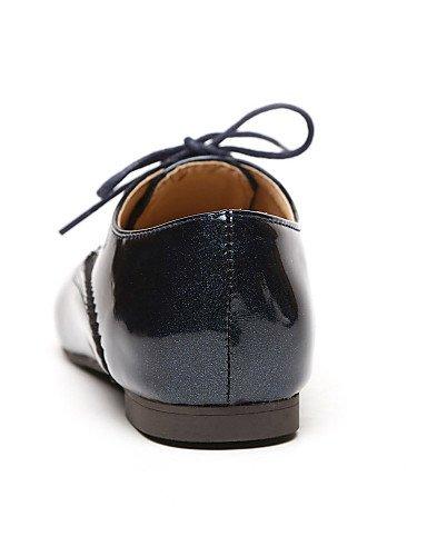 NJX/ Damenschuhe - Oxfords - Kleid - Kunstleder - Blockabsatz - Absätze / Spitzschuh - Schwarz / Blau / Weiß black-us5 / eu35 / uk3 / cn34