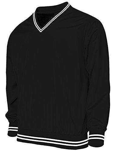 BCPOLO Men's Windshirt V-Neck Wind Shirt Wind Shirt Windbreaker Shirt Golf Shirt-black,US_X-Large(Asain 2XL) Mens Regular Pullover Windshirt