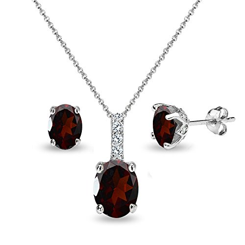 Garnet Necklace Bracelet Earring (Sterling Silver Garnet and White Topaz Oval Crown Necklace & Stud Earrings Set)