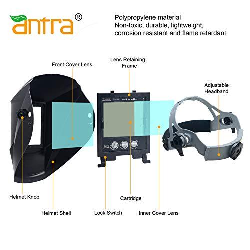 "Antra Welding Helmet Auto Darkening A77D extended s... Viewing Size 3.86X3.23/"""