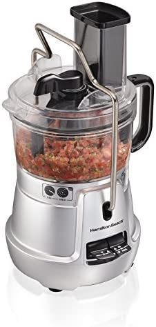 Hamilton Beach Stack Snap 8-Cup Food Processor Vegetable Chopper with Adjustable Slicing Blade, Built-in Bowl Scraper Storage Case, Silver 70820