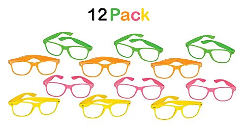 12 Pcs Nerd Glasses Neon Colors With Clear Lens – Birthday, Party Favors, Novelty, Fashion, For Kids & Adults - By - Glasses Neon Frames