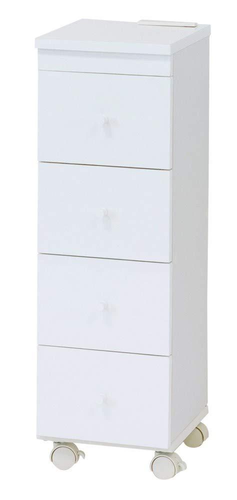 お手入簡単 眩しいホワイト スリム ワゴン【25cm幅】キッチンや洗面所の無駄なスペースのスキマに収納できる スリムなワゴン B07PRSPHBB  25cm幅