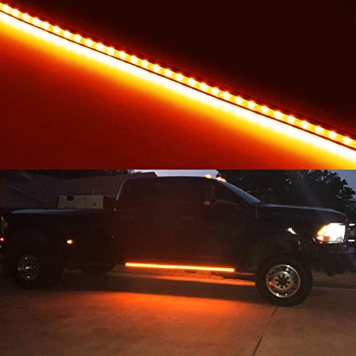 iJDMTOY (2) 40-Inch 63-SMD Flexible LED Running Board/Side Step Lighting Kit For Ford GMC Chevy Dodge Toyota Nissan Honda Truck SUV, Amber Yellow