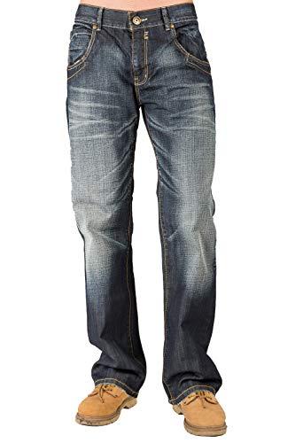Level 7 Mens Relaxed Bootcut Premium Jeans Whisker Handsand Wash Zipper Pocket Size 34 X 32 Blue (Discount Designer Jeans)