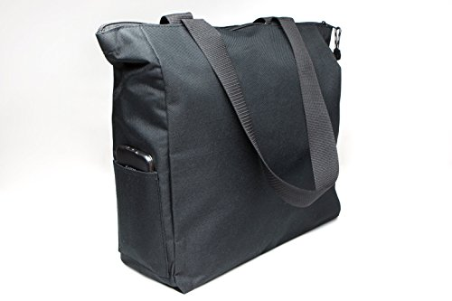 Black Tote Bag 17 Inches Travel Shopping Business Handle Carrier by MakExpress by MakExpress (Image #2)