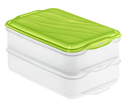 Rotho Rondo Kitchen Food Centre 2 x 1.35 Litre, Apple Green/Transparent, One Size