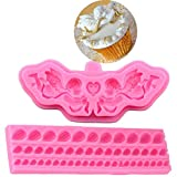Anyana Fairy Angel mold boy Baking Molds party shell bead Silicone Fondant molds Angelic Cherub with Wings Cake Decorating Tools fence Gumpaste cupcake topper decorations resin Chocolate Candy Mold